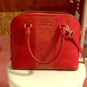Michael Kors red studded purse